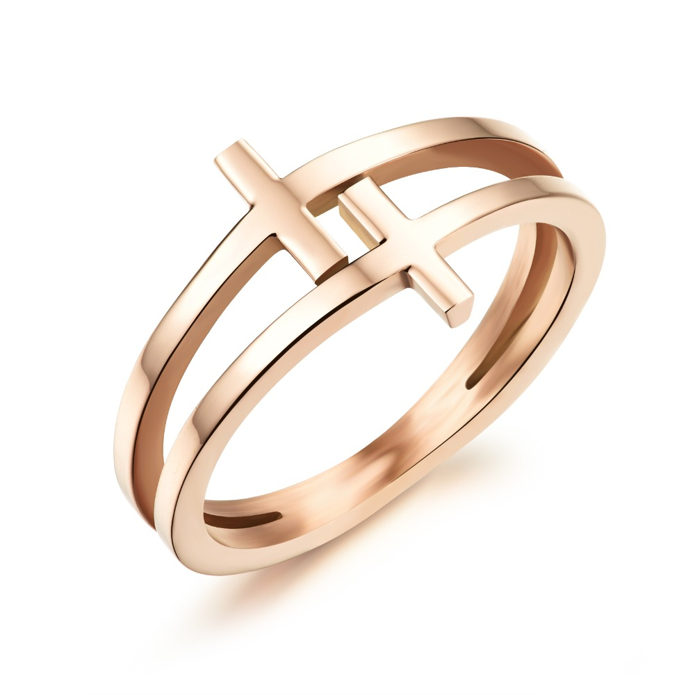 Stainless Steel Finger Ring Rose Gold Color Rings For Women Double Layer Cross Ring Fashion Women Jewelry wholesale GJ491