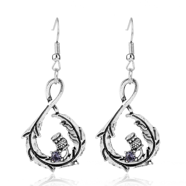 a8223125f MQCHUN Scottish Thistle Flower Antique Silver Drop Dangle Earrings  Outlander Sassenach Celtic Jewelry