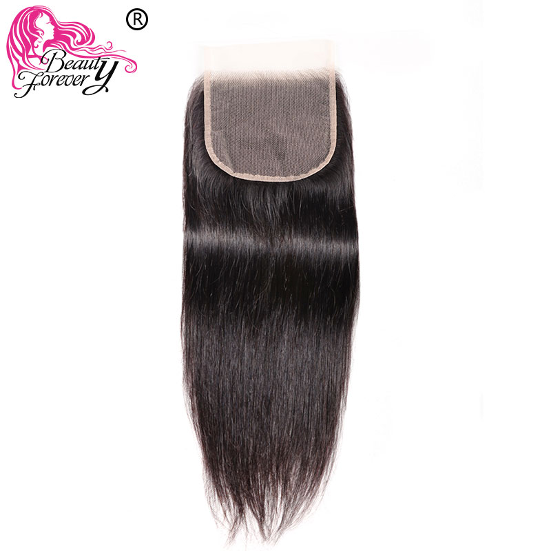 Beauty Forever Swiss lace closure Malaysian straight Transparent Lace Closure Remy Hair free Part 5*5 100% Human Hair(China)
