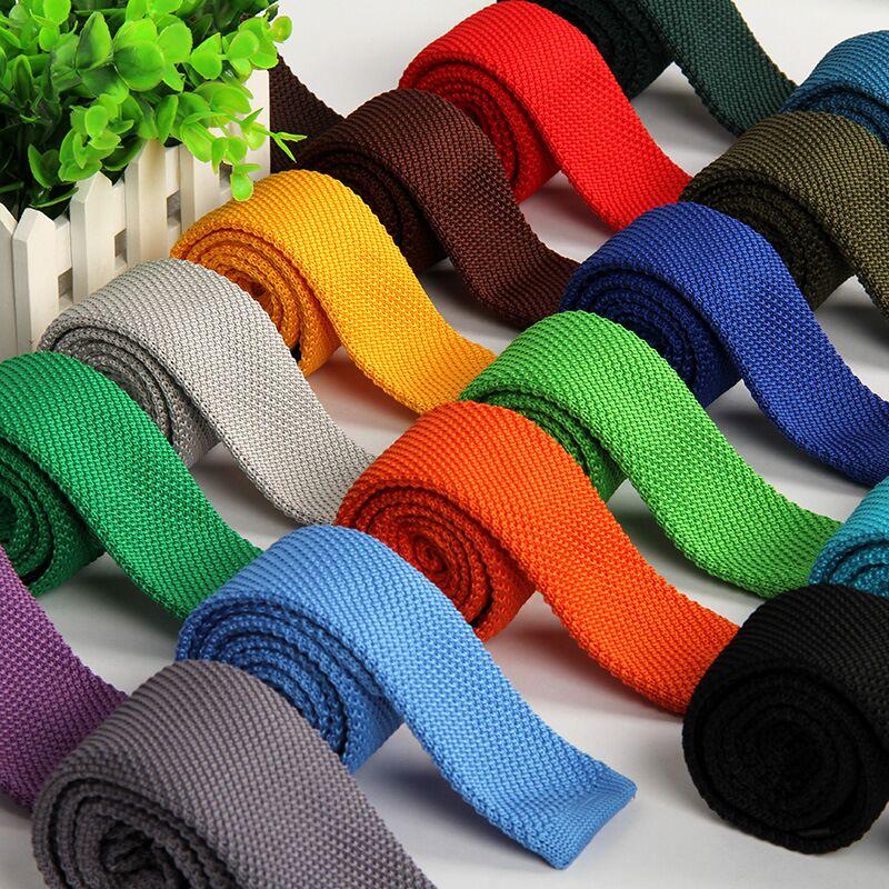 Corbata Punto Hombre 5.5 Cm Knit Tie Skinny Knitted Necktie Narrow Slim Gravatas Mens Wool Ties Knitting Tape Yarn Designers