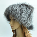 Winter fox fur hat for women natural silver fox fur bomer hat with fur pompom fashion russian outdoor warm fur hat