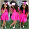 One Piece Girls Summer Dress Pink Kids Dress Sleeve Solid Costume for Girls Under 110cm Wear Clothing 2016 Cheap Clothes China