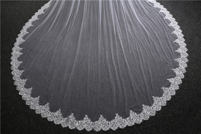 3.5 M Long Cathedral Wedding Veil Two Layers Lace Bridal Veil with Comb For velo novia Wedding Accessories