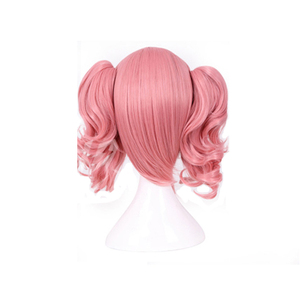 Image 4 - HAIRJOY Woman różowa peruka do Cosplay średniej długości żaroodporne włókno syntetyczne z 2 zdejmowanymi falistymi kucykami darmowa wysyłka