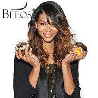 Beeos Ombre перуанский Синтетические волосы на кружеве парик с волосами младенца 150% Плотность Человеческие волосы Искусственные парики для Для