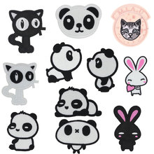 Cat Panda Rabbit Animal Patches Flower Stickers Diy Iron on Clothes Heat Transfer Applique Embroidered Applications Cloth Fabric