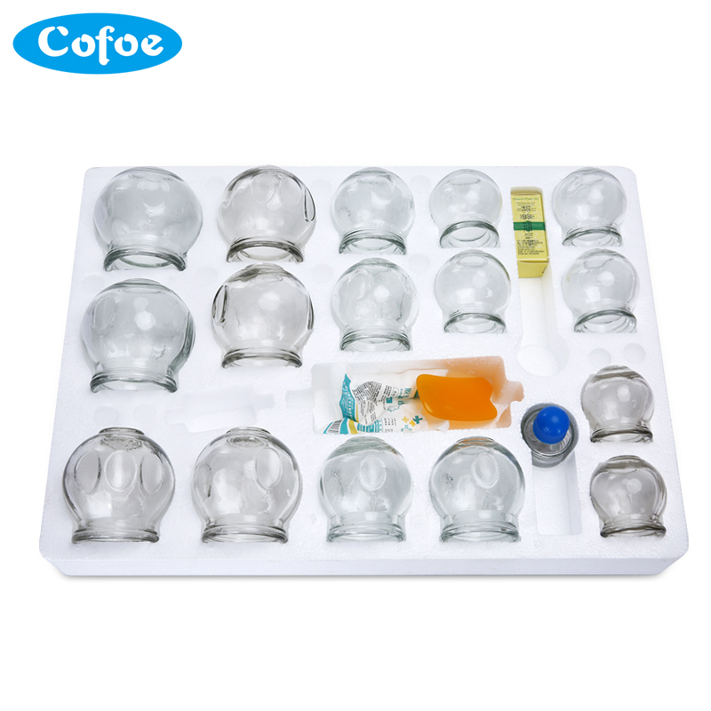 Cofoe 16pcs Cupping Jar Set Body Massager Chinese Medical for Cold & Flu Relief Vacuum Cups or Clearing Damp Toxin Multi Size cofoe yice 100 pcs test strips and 100pcs needles lancets only strips without device for diabetes blood collection medical tools