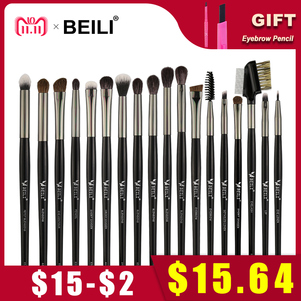 BEILI Goat Hair Pony Eye shadow Blending Smoky Shade Contour liner Black Professional 18pcs Lip Makeup Brushes Tool Set beili 234 natural goat hair pink smoky shade single eye shadow definer makeup brushes