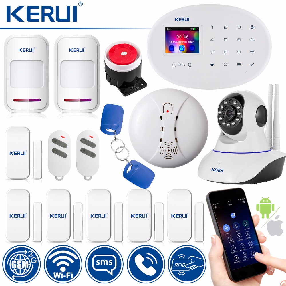 KERUI WIFI GSM RFID Card Disalarm Wireless Home Burglar Alarm Security Alarm System APP Control Motion Detector цены