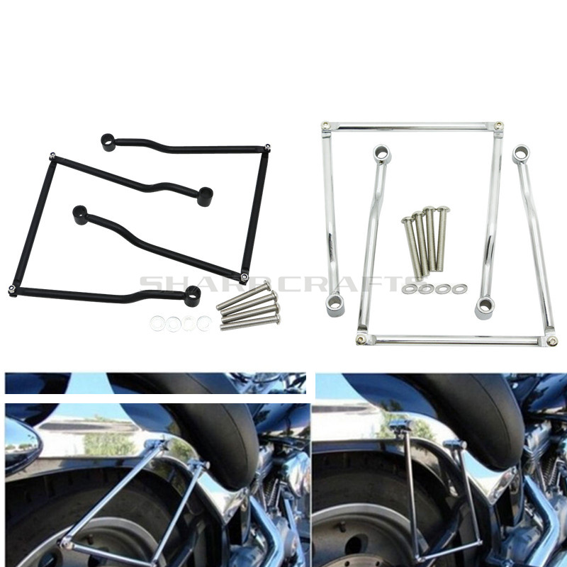 Motorcycle Saddle bag Support Guard Bars Mount Brackets For Yamaha Dragstar <font><b>V</b></font>-star XVS DS <font><b>400</b></font> 650 1100 XVS400 XVS650 XVS1100 image