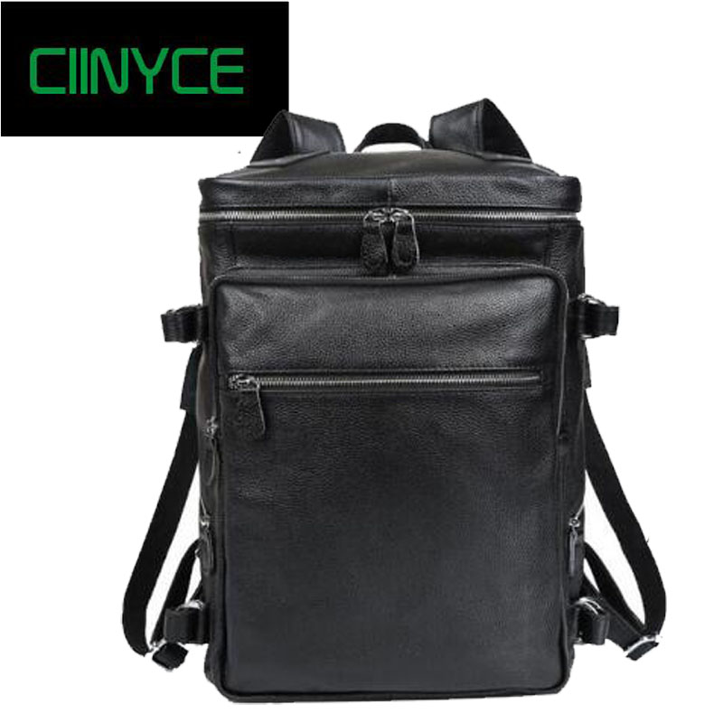 2018 New men's Real cow leather Black Soft Cowhide fashion Male Travel Laptop Shoulder Bags Large Casual backpacks