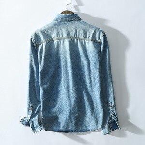 Image 5 - Рубашка мужская джинсовая в стиле сафари, приталенная синяя блуза из денима с карманами, модель 360 в ретро стиле