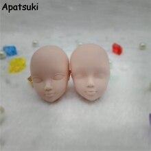 2pcs lot Soft DIY Practice Makeup Doll Heads For Barbie Doll 1 6 For Kurhn BJD