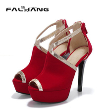 Gladiator Roman high heel sandals Fashion sexy thin heel platform Paty Dress shoes women Summer shoes Black Blue Red