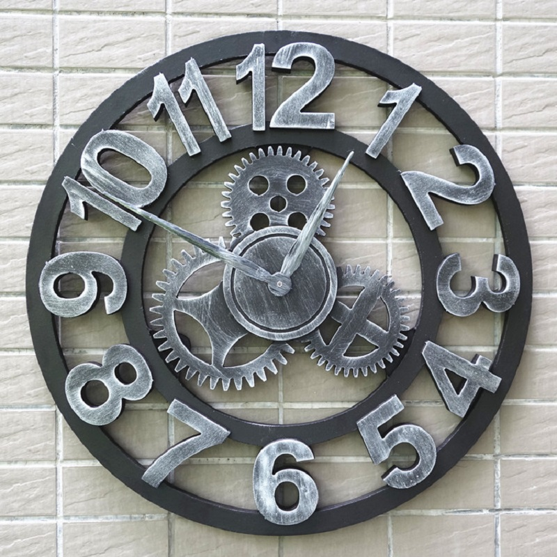 ᐂ3D madera vintage Gear pared wandklok Relojes de pared Retro ...