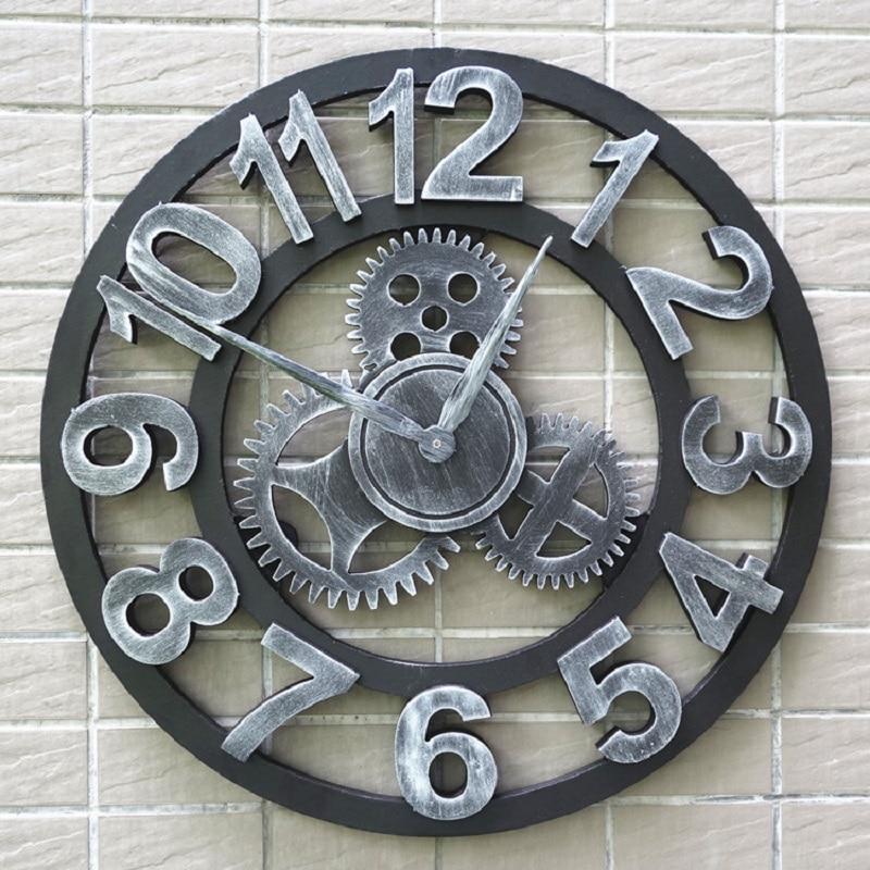 US $30.94 49% di SCONTO|3d di Legno D\'epoca orologio da parete Marcia  wandklok Retro orologi da parete della cucina pared relojes decoracion  wanduhr ...