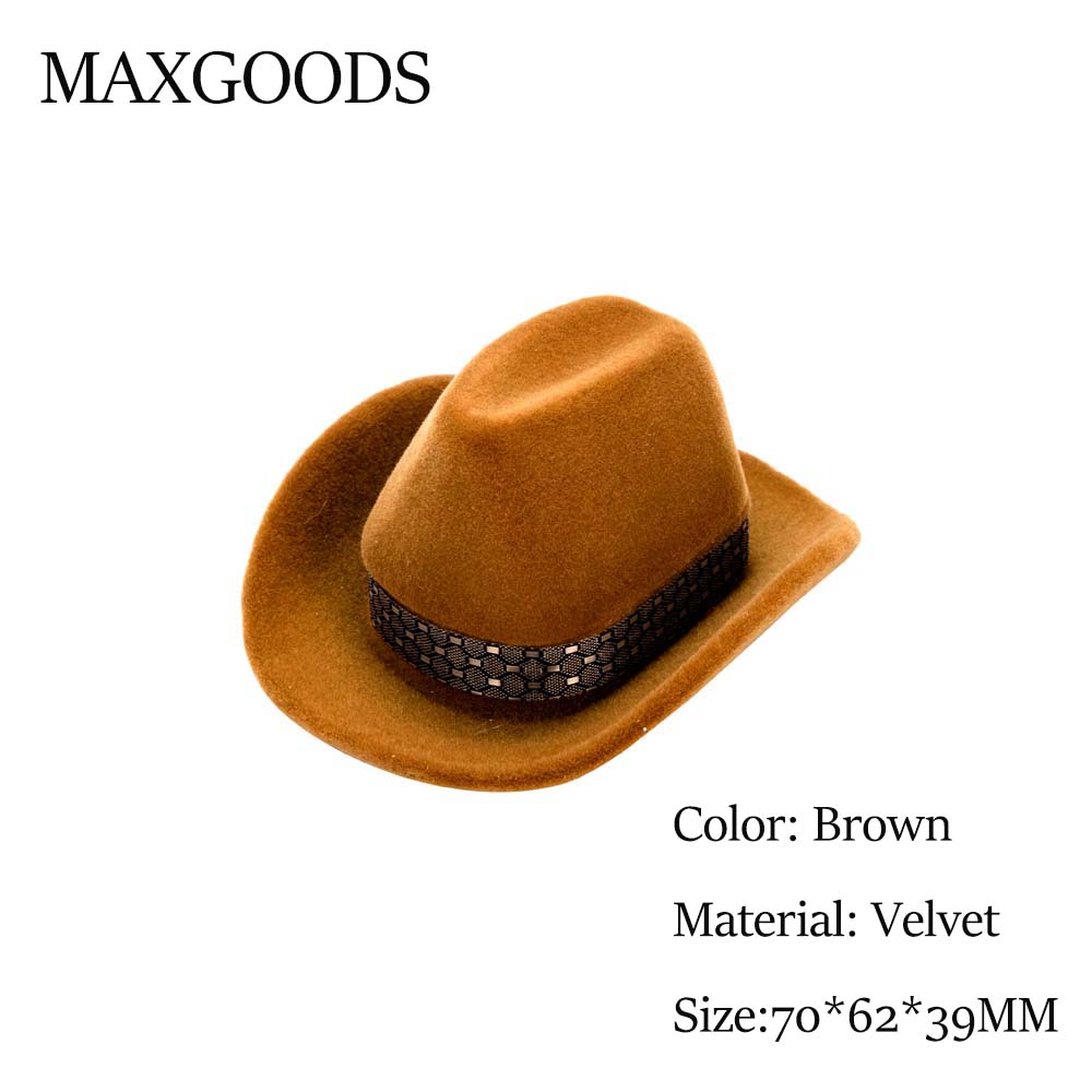 1 Pcs Creative Design Cowboy Hat Shape Velvet Rings Boxes Fashion Brown Jewelry Display Jewelry Packaging Storage Case