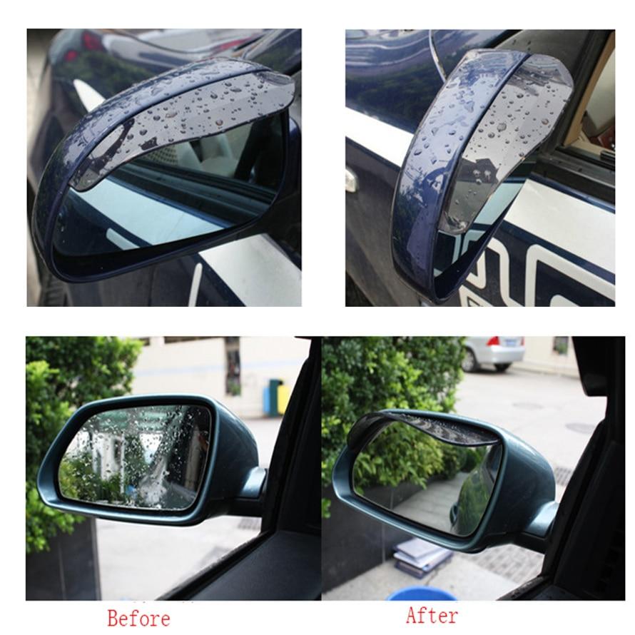 2 PCS Auto Car Rear View Side Mirror Flexible Anti Rain Guard Shade Shield Cover