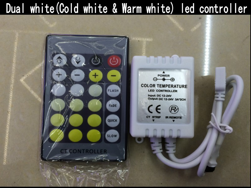 New Dual white CT Color Temperature Controller with 24 Key IR remote dimmer DC12-24V FOR CCT led strip light 44 key ir remote controller for led light strip white