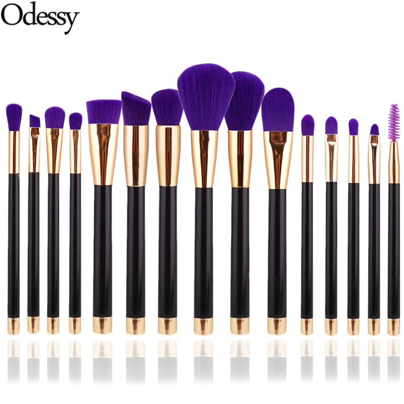 ODESSY Pro 15 PCS Make Up Brushes Soft Foundation Powder Eyeshadow Blusher Blending Eyebrow Brush Eyes Set Brushes for Makeup lcbox professional 40pcs cosmetic makeup brushes set blusher eyeshadow powder foundation eyebrow lip make up brush with bag