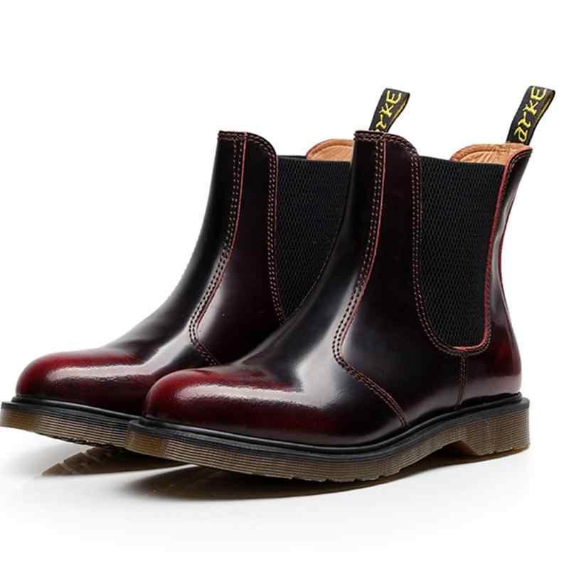 990583e6a77 Unisex Genuine Leather Boots Men Fashion Elastic Band Doc Dr Martins Shoes  Chelsea Boots Dr Martens Men Plus Size 35-45