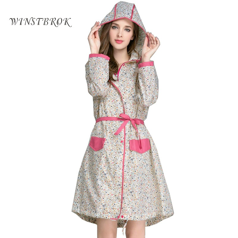 WINSTBROK Floral Long Raincoat Women Ladies Rain Coat Womens Rainwear Breathable Outdoor Travel Water-Repellent Riding Clothes