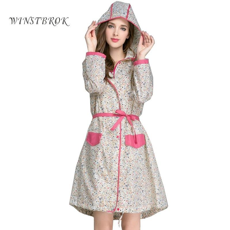 WINSTBROK Floral Long Raincoat Women Ladies Rain Coat Womens Rainwear Breathable Outdoor Travel Water-Repellent Riding Clothes