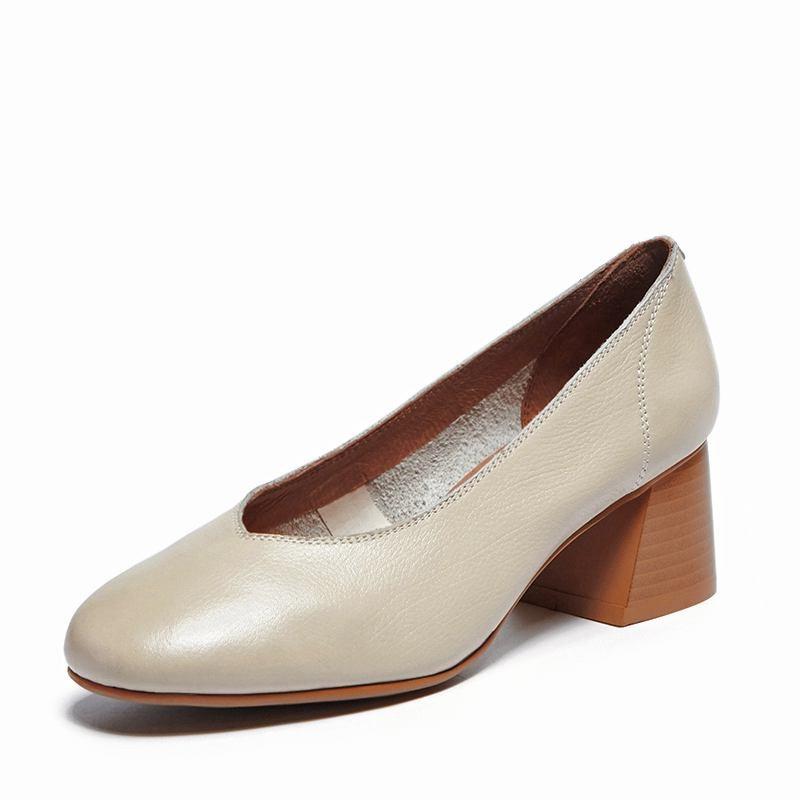 noir Beige Pompes Rue Carré Talons L01 Mode Cuir Chaussures Haute Krazing chocolat Pot Véritable 2019 Gant Marque Med De Doux Femmes zOHUZ0O
