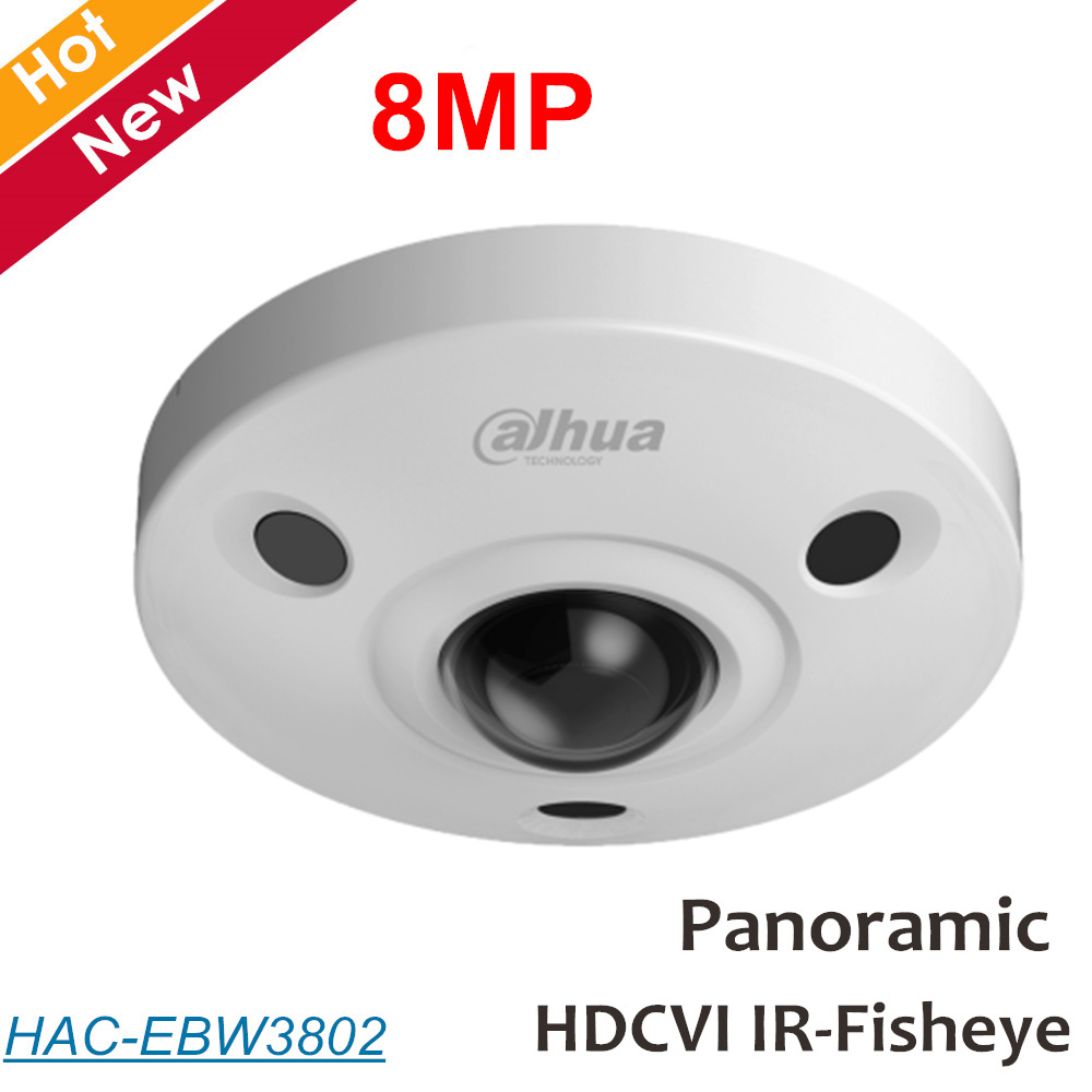 Dahua 8mp Panoramic fisheye Camera HDCVI Camera Built-in mic Waterproof IP67 Coaxial camera Security Camera HAC-EBW3802