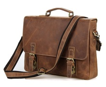 "Vintage Brown Crazy Horse Genuine Leather Men's Briefcase Men Messenger Bags Cowhide Portfolio 14"" Laptop Bag #MD-J7229"