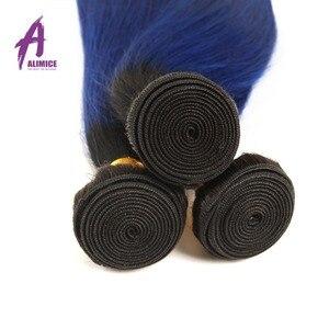 Image 4 - Alimice Ombre สีฟ้าตรงมนุษย์ผมสาน 3/4 ชุดพร้อมฝาปิด T1b/สีฟ้า Remy Hair Hair Ombre กับปิด