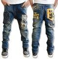 2016 новый свободного покроя дети мальчик джинсы детей письмо полиграфический дизайн мальчиков джинсы осень дети брюки детская одежда детская одежда