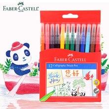Ограниченное предложение Faber Castell 12 Цветов каллиграфия кистью маркеры пера акварель моющиеся нетоксичный натуральной мягкой щетки советы для смешивания рисунок
