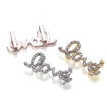 Hight Quality Gold Silver Color Love Shaped Full Crystal Charm Fits Mesh Stainless Steel Bracelet Brand Bracelets Slide Charms tdiyj newest collection silver stainless steel mesh keeper ing bracelet with crystal star cutout slide charms for women 1set