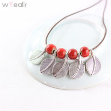 Фотография WYEAIIR Original Bohemia Style Ceramic Beads With Leaves Statement Necklace For Women Necklaces & Pendants Gift To Girl WN120