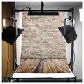 CES-3x5FT Fundo do Estúdio de Fotografia Pano de Fundo Da Foto Da Parede de Tijolo Piso De Madeira Adereços Light Grey