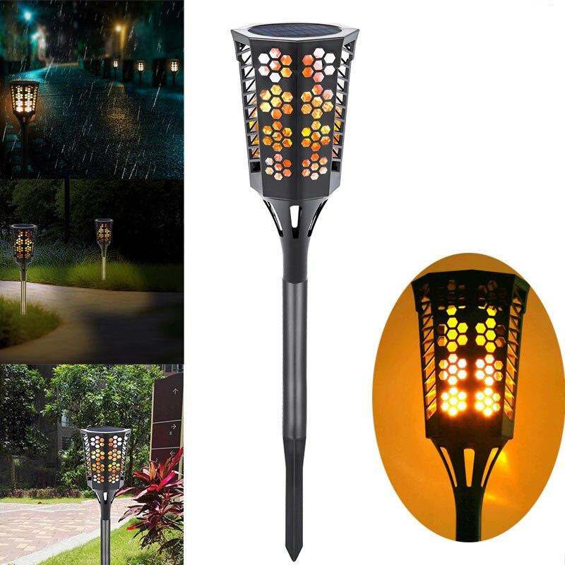 96 LED Solar Power Flicker Flame Lamps Waterproof Spot Light Landscape Outdoor Grounding Decor --M25