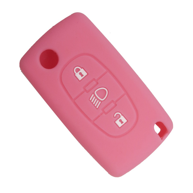 OkeyTech 3 Buttons Soft Silicone Rubber Car Key Cover Case Shell Skin Protector Fob For Citroen C2 C3 C4 Picasso Xsara C5 C6 C8
