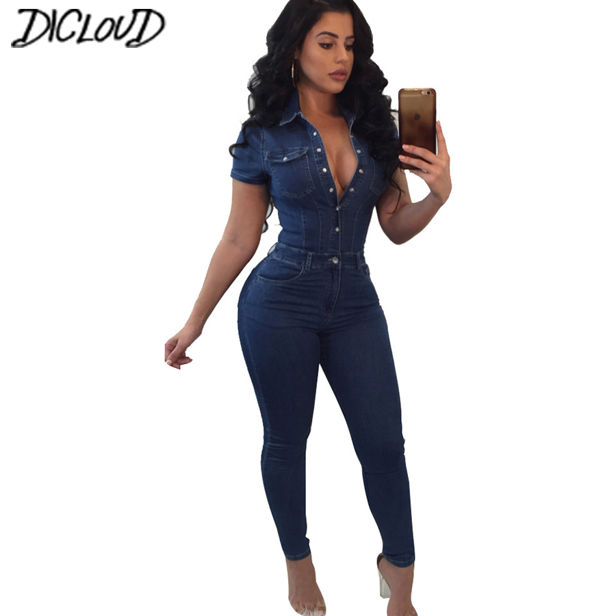 Casual Stretch Large Size Bodysuit Women 2018 Fashion Tight Denim Jumpsuit Female Simple Button V Collar Summer Long Jumpsuit