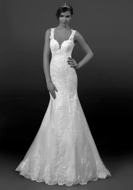 New Luxury Elegant Sheer Strap Open Back Silk Lace Mermaid Wedding ...