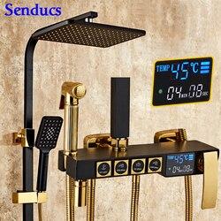 Набор для душа Senducs черного и золотого цвета, температурный цифровой набор для душа, качественный латунный смеситель для душа, система для д...