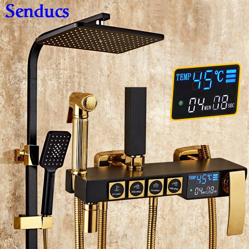 Senducs Black Gold Bath Shower Set Temperature Digital Shower Set Of Quality Brass Shower Faucet Rainfall Black Shower System