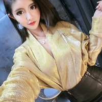 RUGOD Fashion Solid V neck Women Shirts Batwing Silver and Yellow Women'S Blouse 2018 Spring New Womens Tops And Blouses