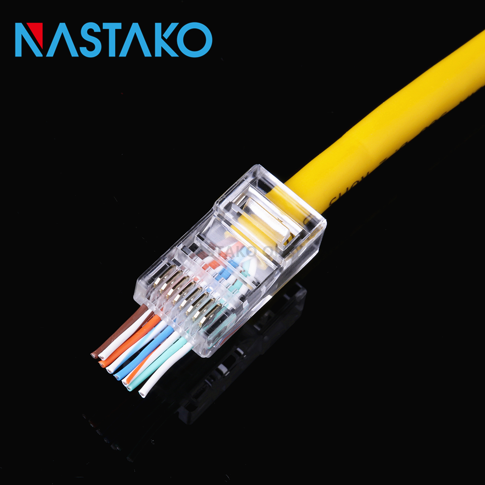 NASTAKO 50/100x EZ rj45 Cat5 connector cat5 cat5e network connectors 8Pin unshielded modular rj45 plugs utp Cable have hole Pass [vk] 553602 1 50 pin champ latch plug screw connectors