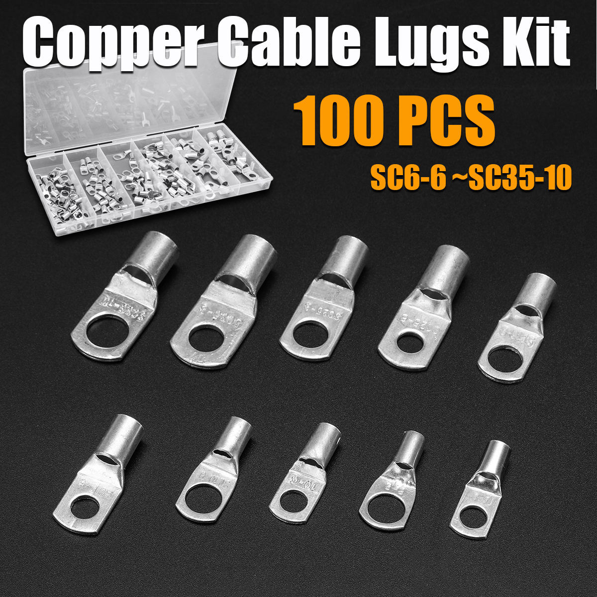 100Pcs Copper Cable Lugs Kit SC6-6 ~SC35-10 Electrical Terminal Block Wire Connectors Cable Lug Set for Electrical Equipment100Pcs Copper Cable Lugs Kit SC6-6 ~SC35-10 Electrical Terminal Block Wire Connectors Cable Lug Set for Electrical Equipment