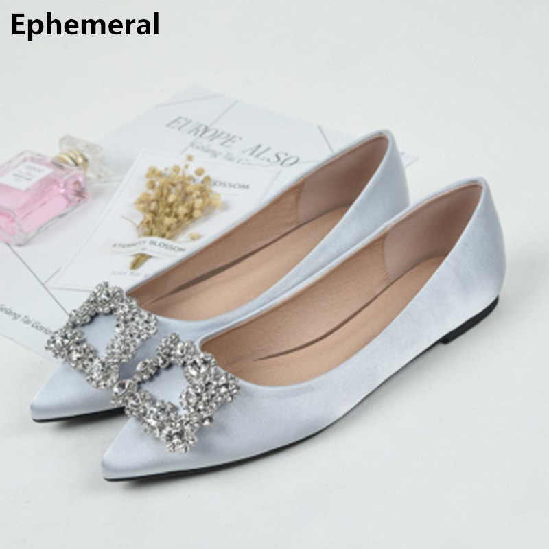 Female's Colorful Diamond Flats Silk Shoes Pointed Toe Party Bride Footwear Larger Size 14 3 12 Silver Red Black Promotion 2018