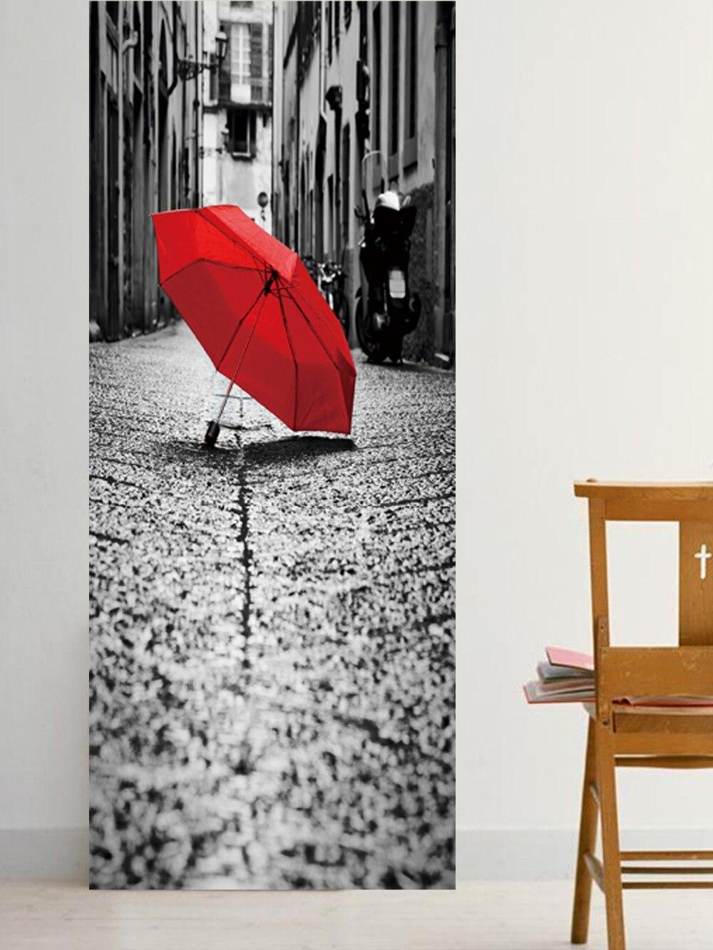 Image 3 - Street Red Umbrella On The Ground Imitation 3d Door Stickers Living Room, Bedroom Door Renovation Self adhesive Stickers-in Door Stickers from Home & Garden