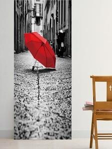 Image 3 - Đường phố Chiếc Ô Màu Đỏ Trên Mặt Đất Giả 3d Dán Cửa Phòng Khách, phòng ngủ Cửa Đổi Mới Dán Tự dính