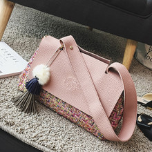 2016 Autumn Winter Women Wool Handbags Panelled Shoulder Bag Female Fringe Tassel Crossbody Bags Ladies Large Woolen Tote Bags