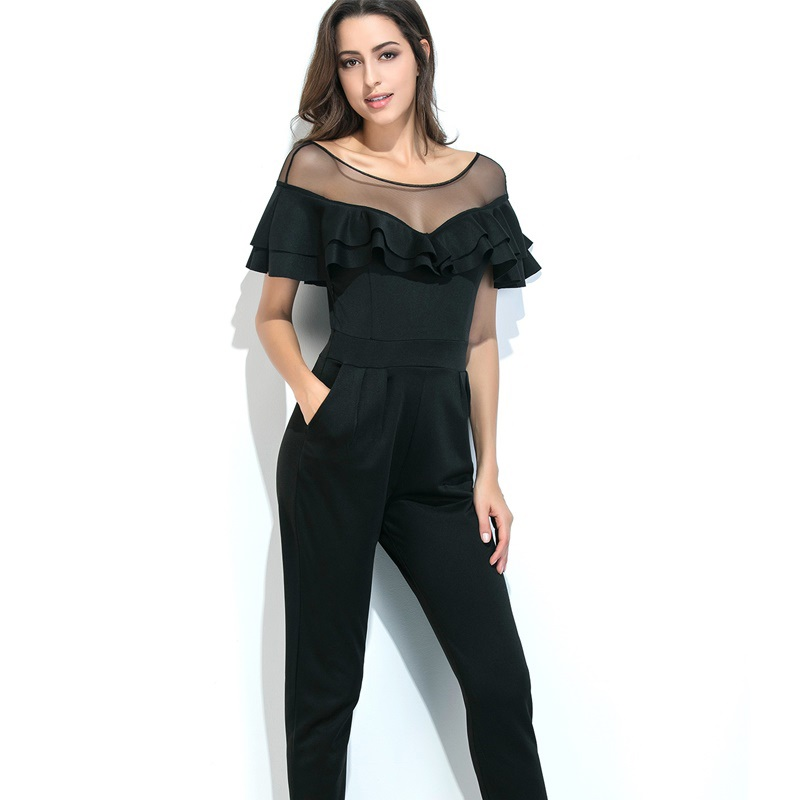 Elegant Ruffle Lace Rompers Womens Jumpsuit Long Pants 2018 Summer Sexy Ladies Casual Pants Set Overalls For Women Jumpsuits